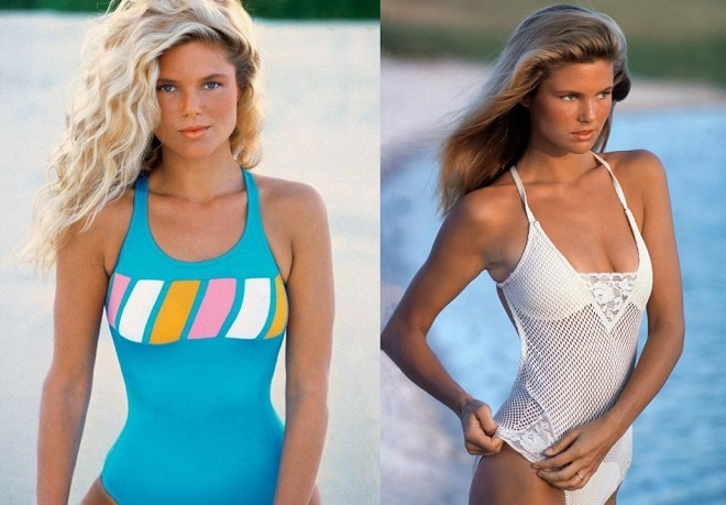 In the 70s a 20-year-old model in a swimsuit